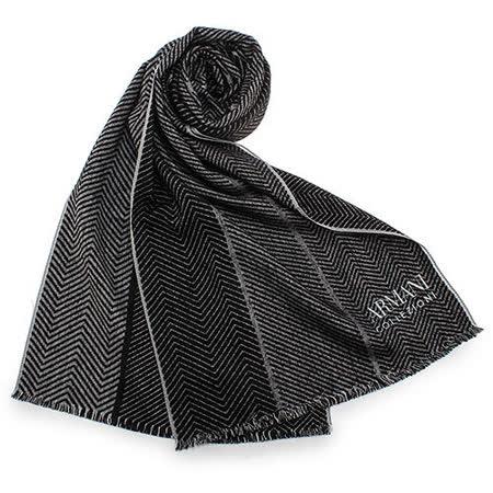 ARMANI COLLEZIONI 對比斜紋編織流蘇圍巾-黑色