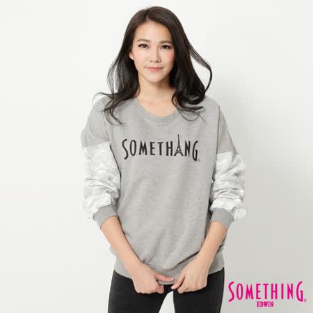 SOMETHING 蕾絲袖LOGO印花T恤-女-淺灰色