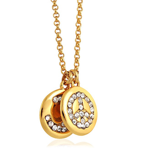 JUICY COUTURE 和平圖樣飾牌晶鑽項鍊-金色