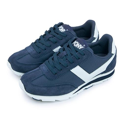 【女】PONY 繽紛韓風復古慢跑鞋 SOHO color run系列 深藍白 61W1SO72DB