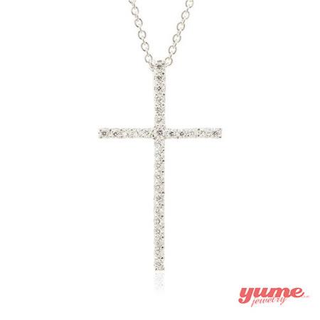 【YUME】K金經典十字架晶鑽項鍊