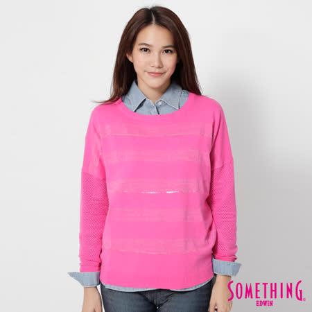 SOMETHING 隱約條紋長袖線衫-女-桃紅色
