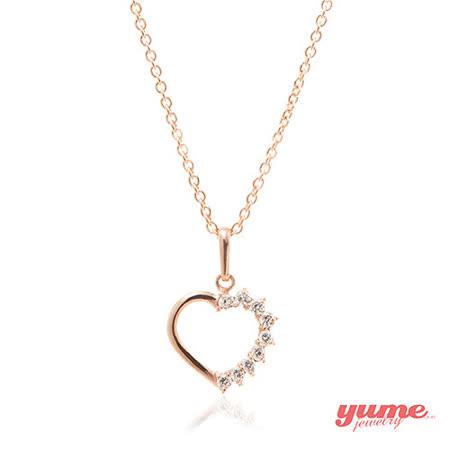 【YUME】K金半點心晶鑽項鍊