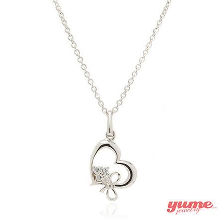 【YUME】K金愛心蝴蝶結晶鑽項鍊
