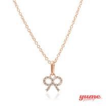 【YUME】K金小蝴蝶結晶鑽項鍊