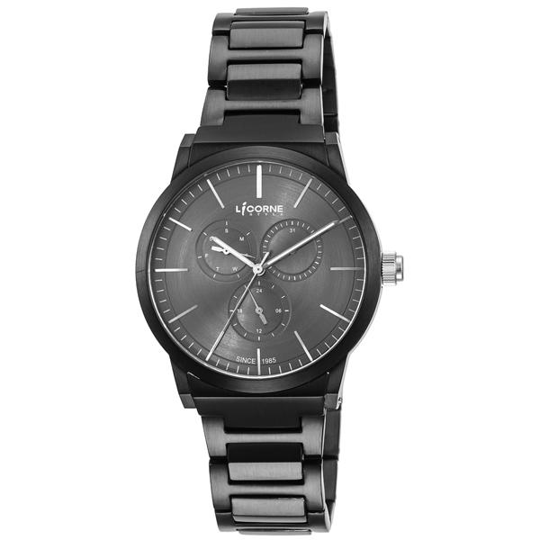 LICORNE 生活哲學經典腕錶-灰面黑x大