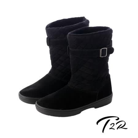 【韓國T2R】名媛必備扣帶菱格拼接真皮隱形內增高雪靴 黑 ↑7cm 5500-0700(原裝進口)