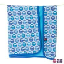 英國 POCONIDO 精梳棉柔軟嬰兒毯 (藍色貓頭鷹)