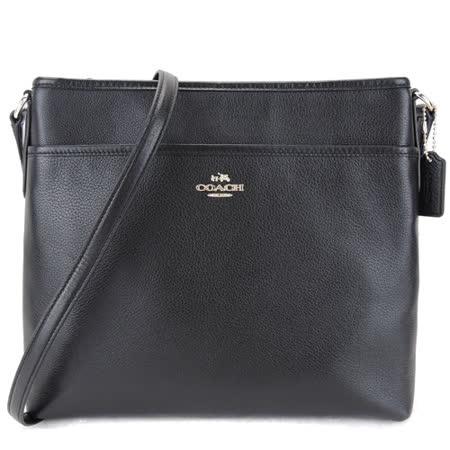 COACH 馬車方形素面皮革斜背包(黑)