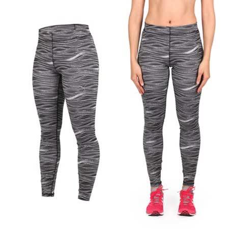 (女) PUMA 訓練印花緊身長褲-緊身褲 慢跑 路跑 瑜珈 有氧 健身 韻律 黑白
