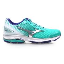 (女) MIZUNO 慢跑鞋 WAVE RIDER 19- 路跑 慢跑 湖水綠白