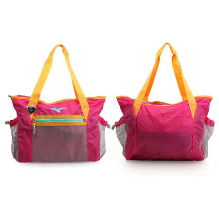 MIZUNO 側肩袋-可收納 手提包 肩背包 旅行 桃紅橘 F