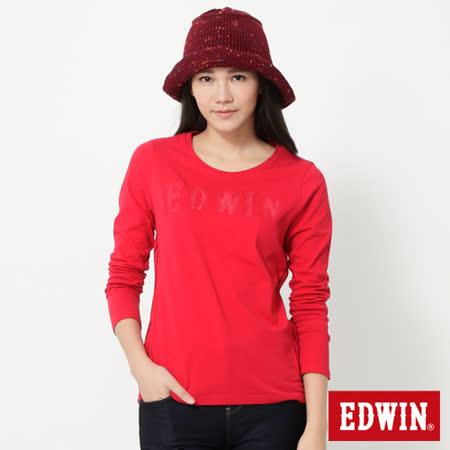 EDWIN 斑駁印繡LOGO長袖T恤-女-紅色
