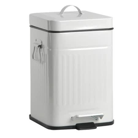 PUSH! 居家生活用品 colourful液壓自動緩降垃圾桶 置物桶 12升(L)I13米白色