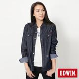 EDWIN 抽繩牛仔襯衫-女-原藍色