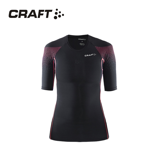 CRAFT DELTA女款 壓縮短袖上衣 黑桃紅