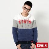 EDWIN 三色剪接花紗連帽外套-男-丈青色
