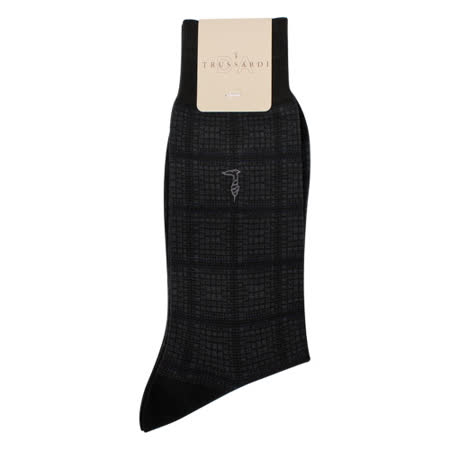 TRUSSARDI 滿版細格紳士襪-深灰色