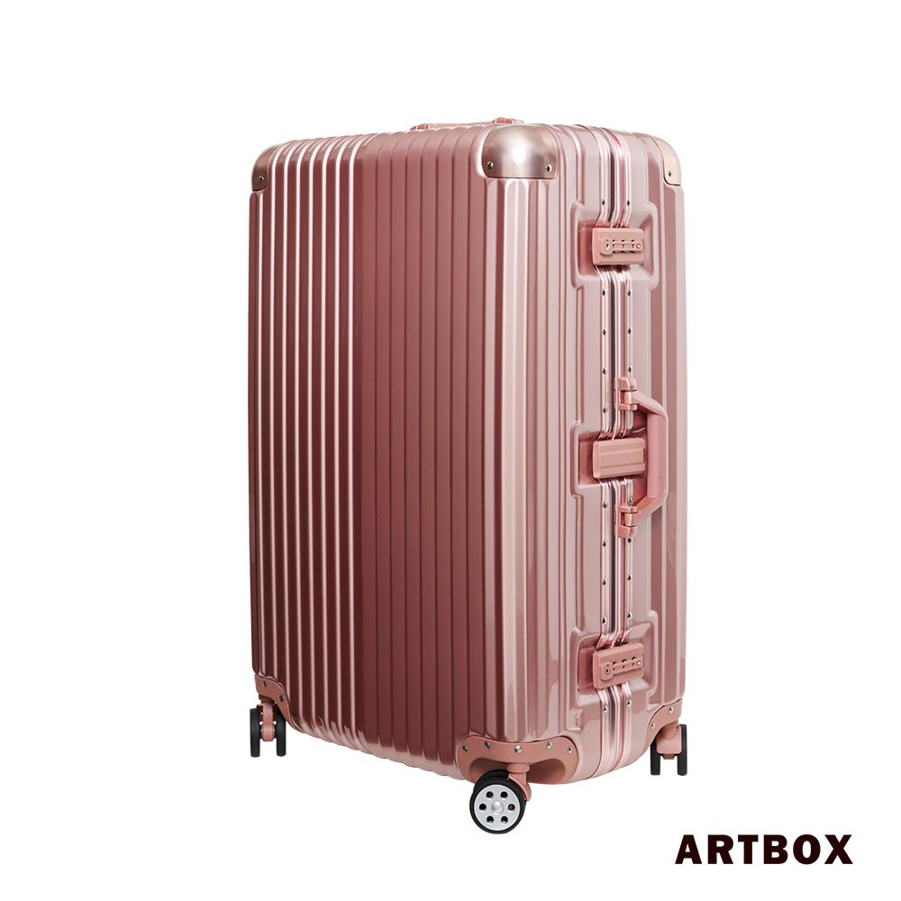 【ARTBOX】超次元 - 20吋 輕量PC鏡面鋁框行李箱(玫瑰金)