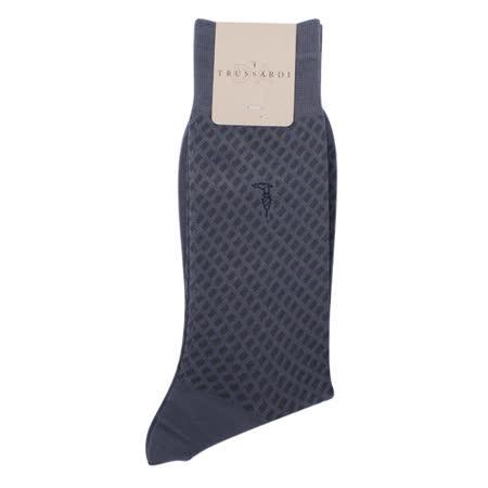 TRUSSARDI 滿版斜格紳士襪-深灰色