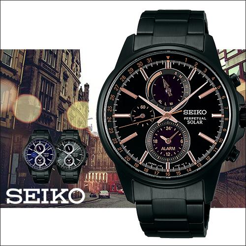 SEIKO 精工 SOLAR 三眼玫瑰金太陽能時尚腕錶-42mm-V198-0AC0G