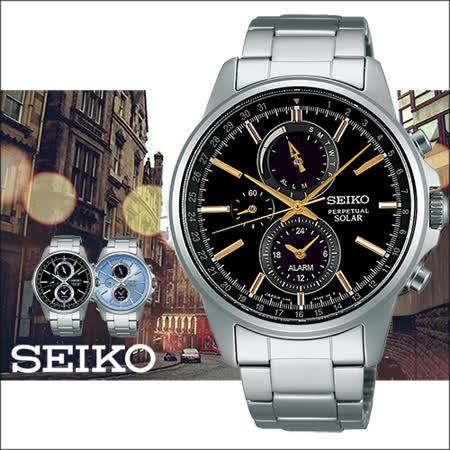 SEIKO 精工 SOLAR 黑金時尚三眼太陽能計時腕錶-42mm/V198-0AC0K
