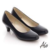 【A.S.O】通勤系列 全真皮素色窩心高跟鞋(藍)