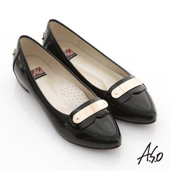 【A.S.O】玩美彈麗 全真皮鏡面窩心尖頭平底鞋(黑)