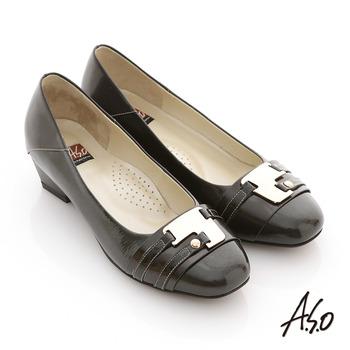 【A.S.O】玩美彈麗 全真皮金屬裝飾鏡面低跟鞋(黑)