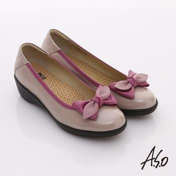 【A.S.O】新3E耐走 全真皮厚切鞋墊窩心包鞋(粉紅)