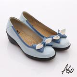 【A.S.O】新3E耐走 全真皮厚切鞋墊窩心包鞋(淺藍)