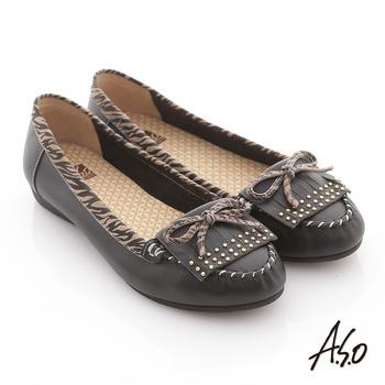 【A.S.O】玩色普普 手工縫線拼接動物紋平底鞋(黑)