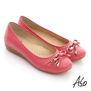【A.S.O】輕量樂活 蝴蝶結蠟感牛皮平底休閒鞋(紅)
