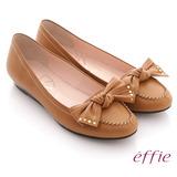 【effie】俏麗悠活 真皮蝴蝶結金屬楔型低跟鞋(芥末黃)