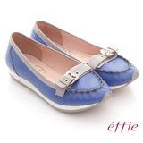【effie】趣味樂活 全真皮飾扣輕量休閒鞋(亮藍)