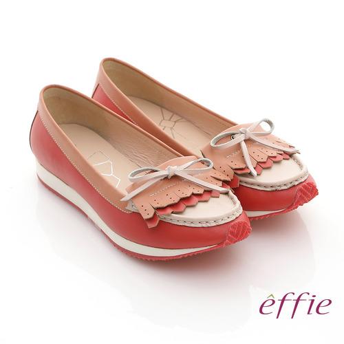【effie】軟芯系列 全真皮流蘇軟墊平底休閒鞋(粉紅)