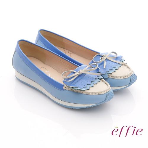 【effie】軟芯系列 全真皮流蘇軟墊平底休閒鞋(藍色)