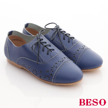 【BESO】全真皮書卷氣息學院風平底牛津鞋(藍)