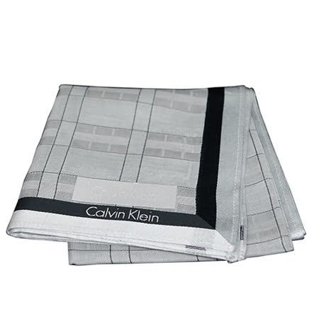 CALVIN KLEIN  CK格紋方型帕領巾(銀灰色)