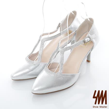 SM-臺灣製-晚宴縷空亮鑽扣帶高跟鞋-銀色