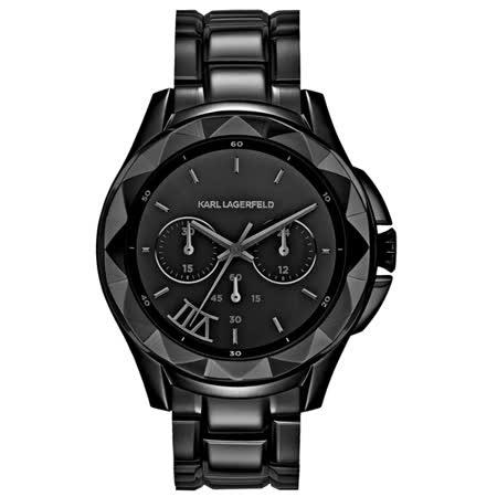 KARL LAGERFELD 成就經典兩眼計時腕錶-黑