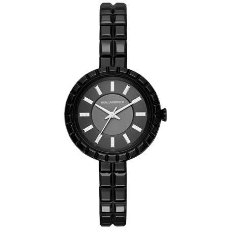 KARL LAGERFELD 華麗目矚三針腕錶-黑