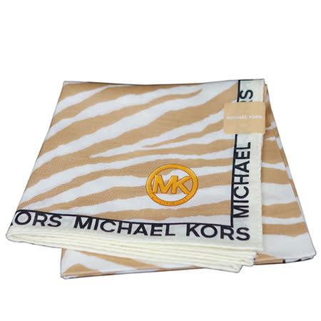 MICHAEL KORS 斑馬紋圖騰方型帕領巾(卡其駝)