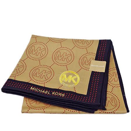 MICHAEL KORS 刺繡MK LOGO大款方型帕領巾(黑邊)
