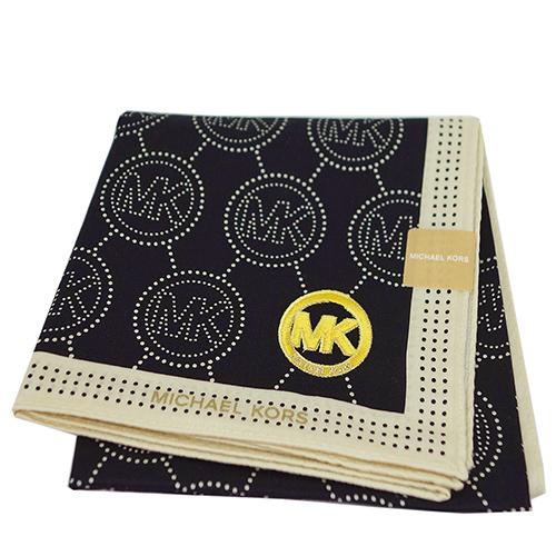MICHAEL KORS 刺繡MK LOGO大款方型帕領巾(卡其邊)
