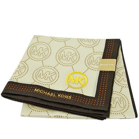 MICHAEL KORS 刺繡MK LOGO大款方型帕領巾(咖啡邊)