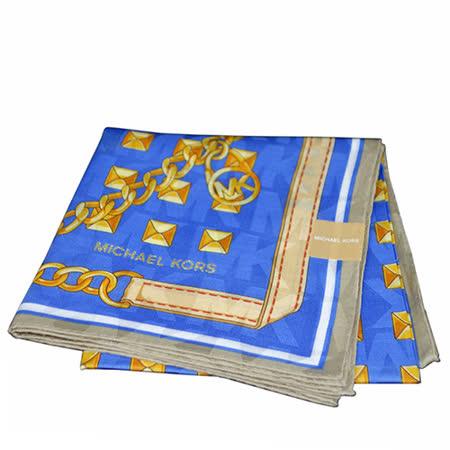 MICHAEL KORS 金屬鎖鍊大款方型帕領巾(藍色)