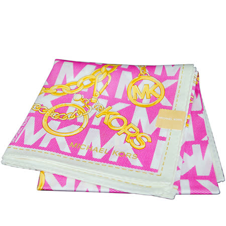 MICHAEL KORS 金屬鎖鍊大款方型帕領巾(粉色)