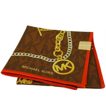 MICHAEL KORS 金屬鎖鍊大款方型帕領巾(咖啡橘)
