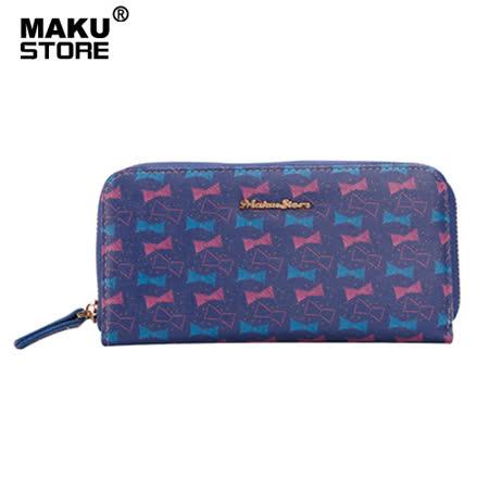 【MAKU STORE】韓版經典手挽拉鍊長夾-紫藍底蝴蝶結